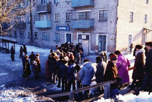 In communist Russia, bread queues for you!