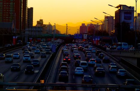 beijign traffic sunset