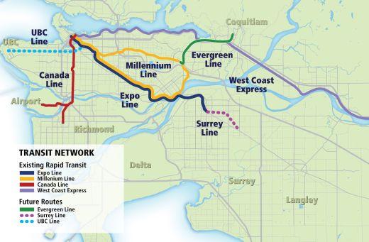 Vancouver rapid transit map