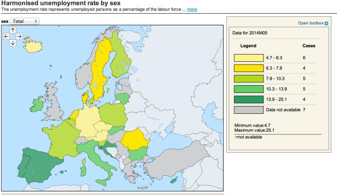 Europe unemployment map