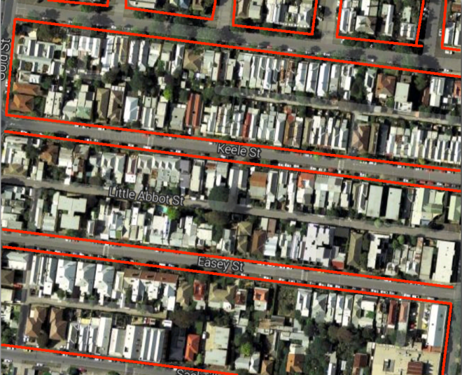 Google maps draws streets as thin little lines, but they can be wide, sometimes half as wide as the blocks are deep