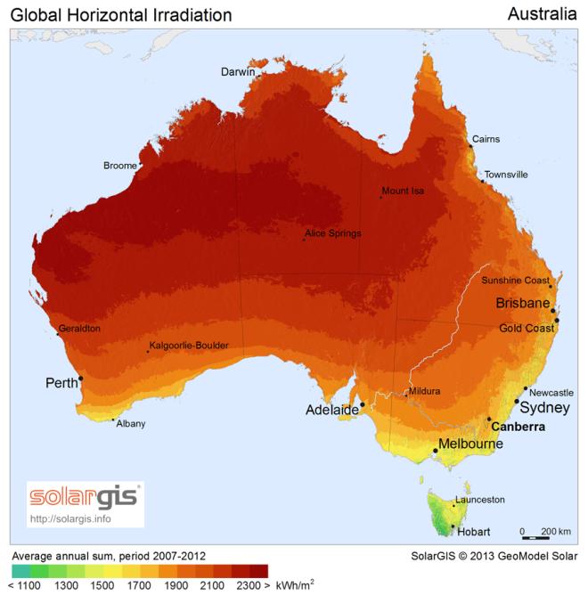 Kilowatt hours per square metre. Source Wikipedia