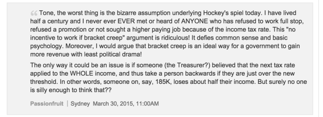 Commenter from the Age is at least engaging with the idea that tax affects growth.